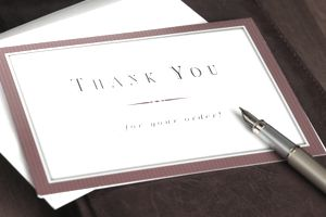 Business thank you note with pen