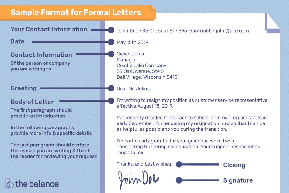 Sample format for a formal letter