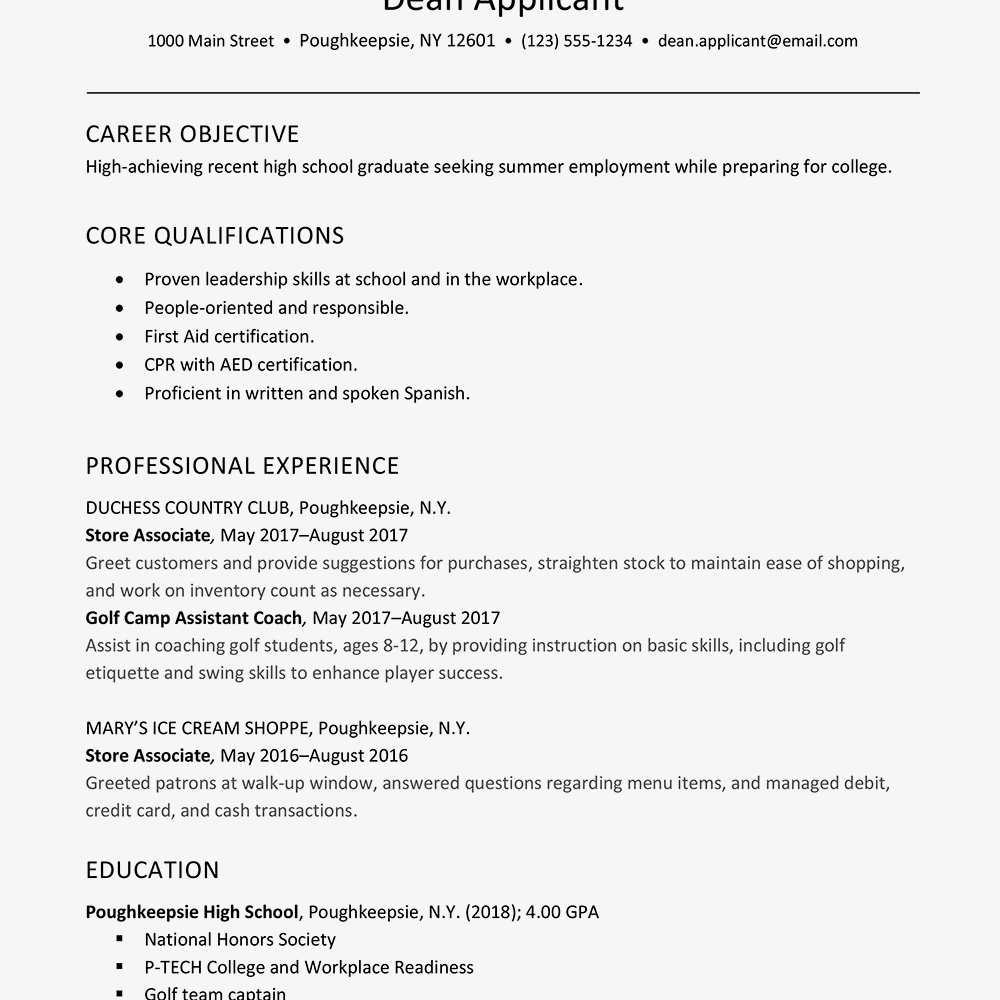 Job Resume Templates Examples: Summer Job Resume And Cover Letter Examples