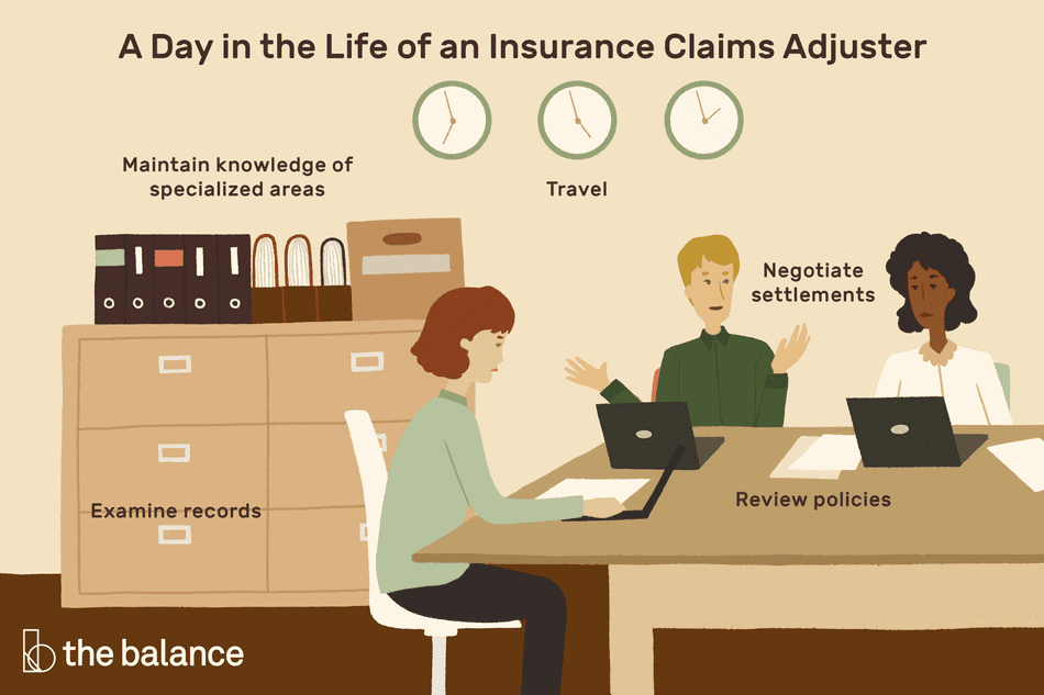A day in the life of an insurance claims adjuster: Maintain knowledge of specialized areas; travel; examine records; review policies