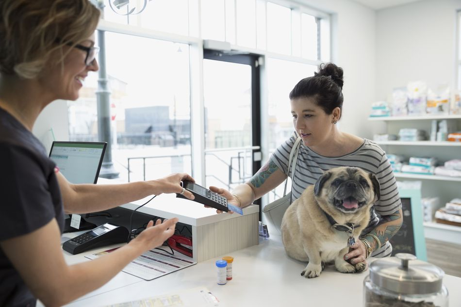 Woman with dog using credit card machine veterinarian