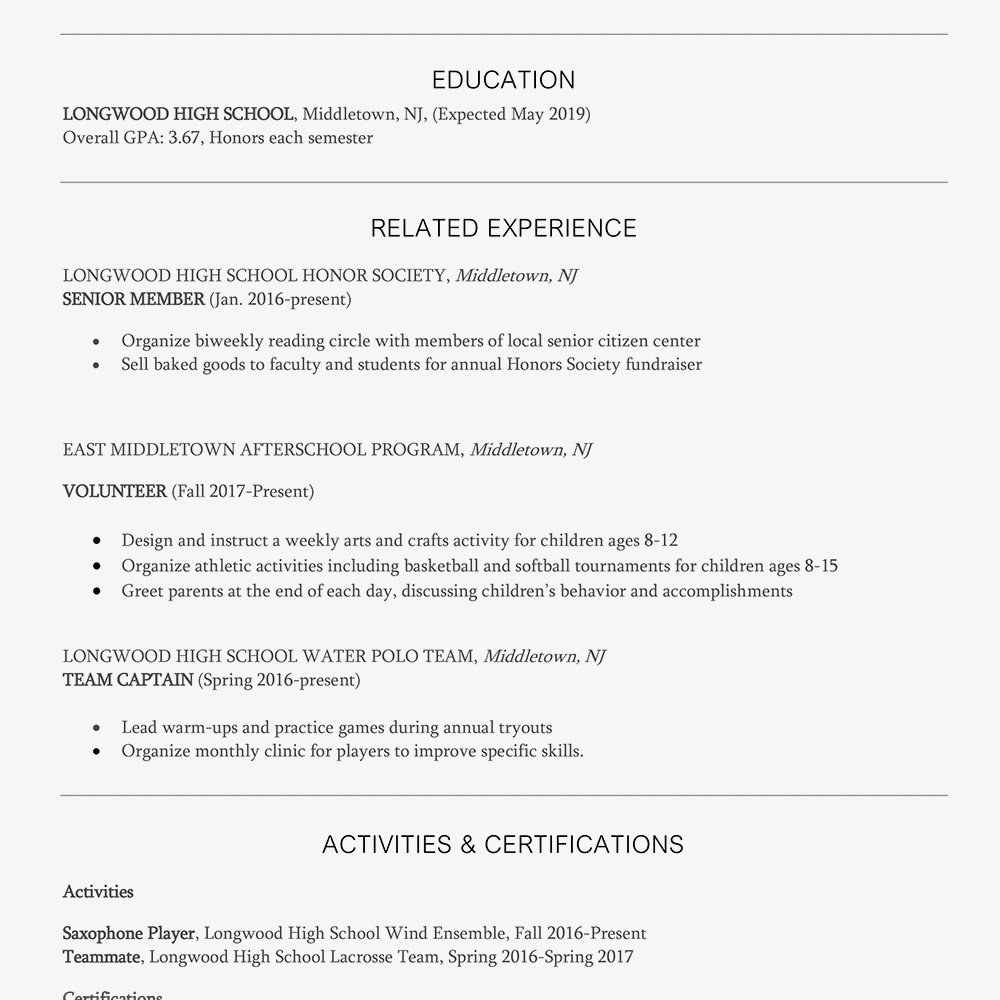 Screenshot Of A Lifeguard Resume Sample