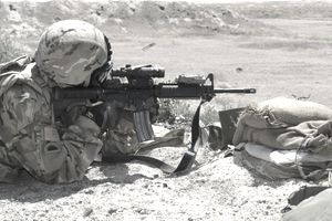 Oregon Army National Guard fires an M4 rifle.