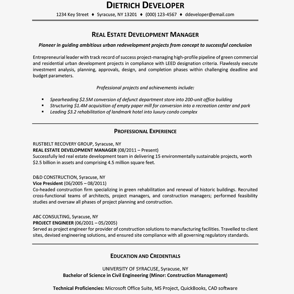 Resume Sample With A Career Highlights Section Text Version