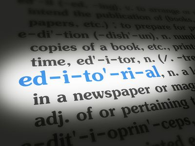 Dictionary Editorial Blue On White