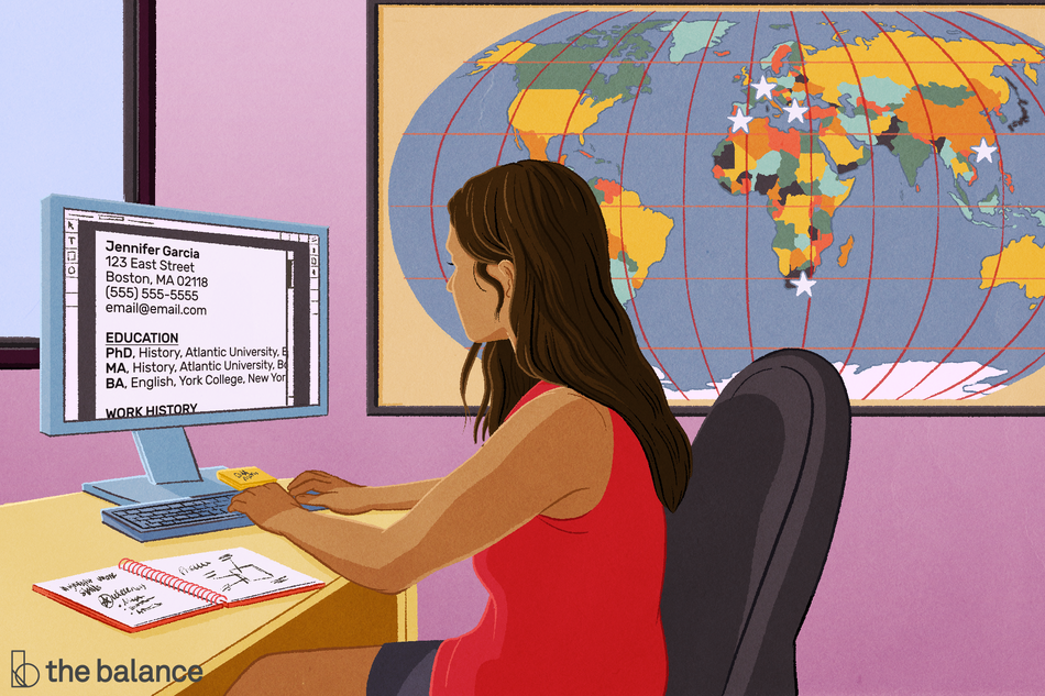 Image shows a woman sitting at her desk in front of a world map with stars over countries, implying she either wants to visit or has visited. She's writing her CV on her computer.