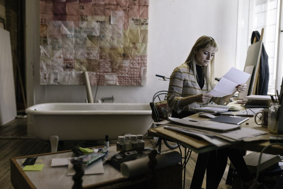 Creative woman working at her desk