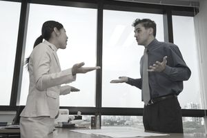 Multi-ethnic business people having a meaningful and appropriate confrontation.