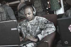 Soldier using a laptop