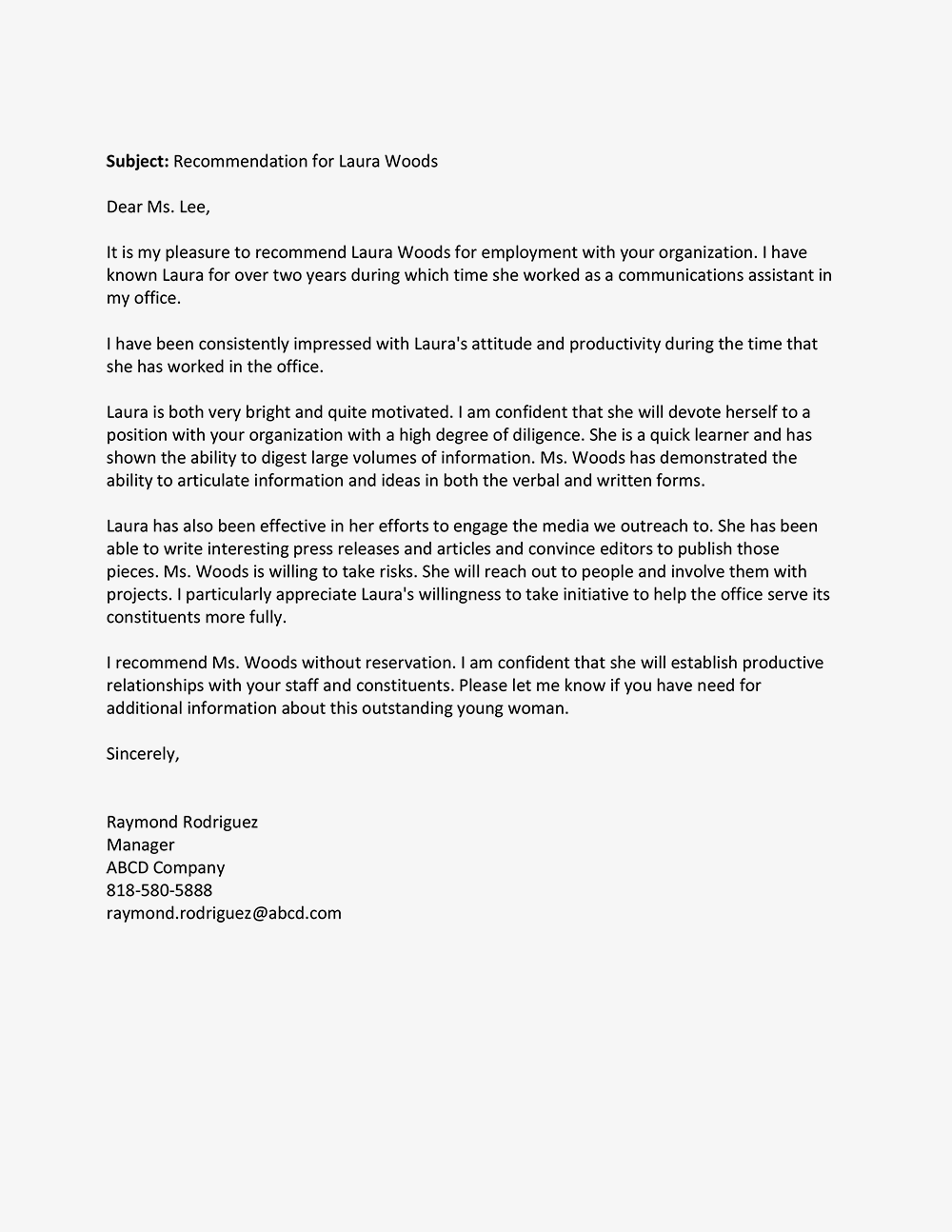 reference letter sample for a job