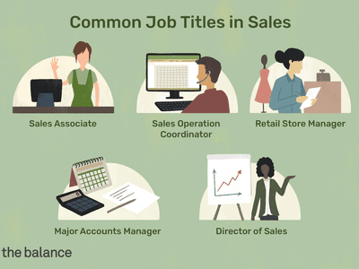 This illustration includes common job titles in sales including