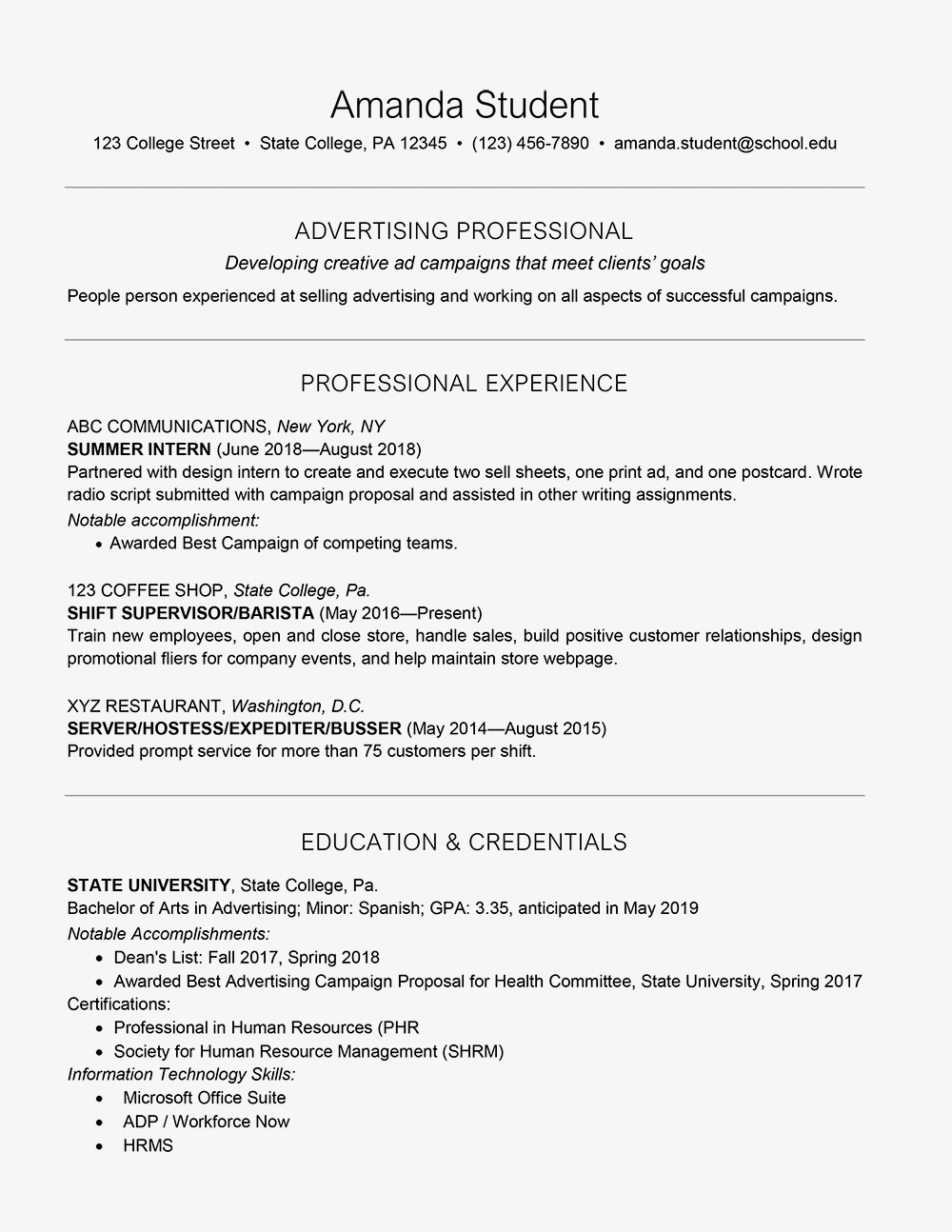 resume to get into college