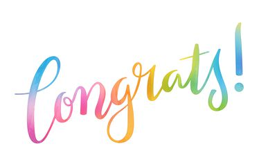 CONGRATS! colorful brush calligraphy banner