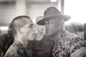 Marine recruit and drill instructor
