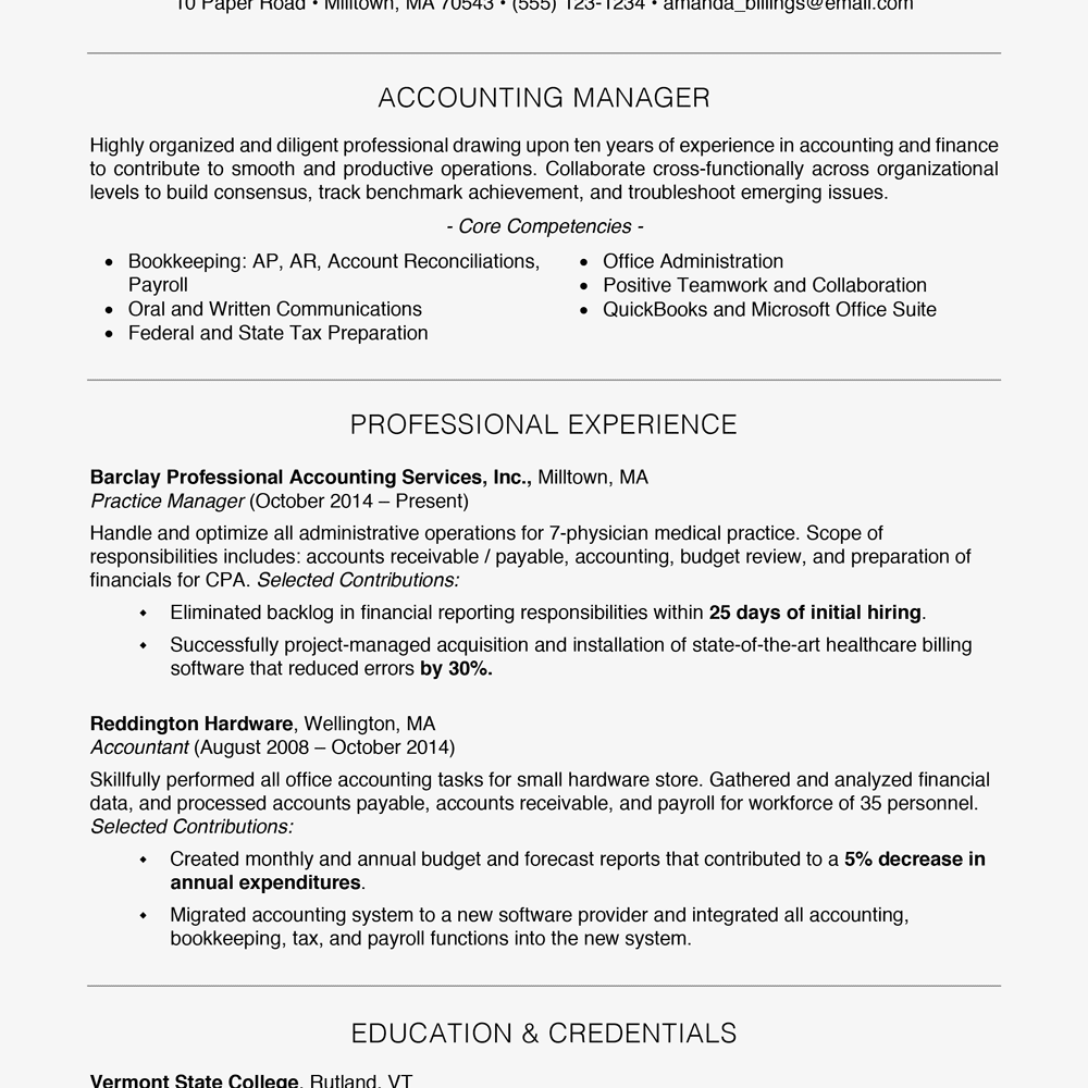 professional resume example