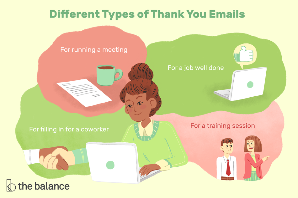 "This illustration list different types of thank you emails including ""For running a meeting,"" ""For a job well done,"" For filling in for a coworker,"" and ""For a training session."""
