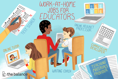 This illustration displays a variety of work-at-home jobs for educators including