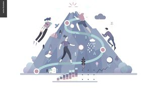 Career paths up a mountain concept