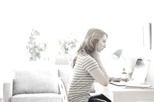Woman telecommuting
