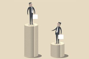 illustration of businessmen standing on coins