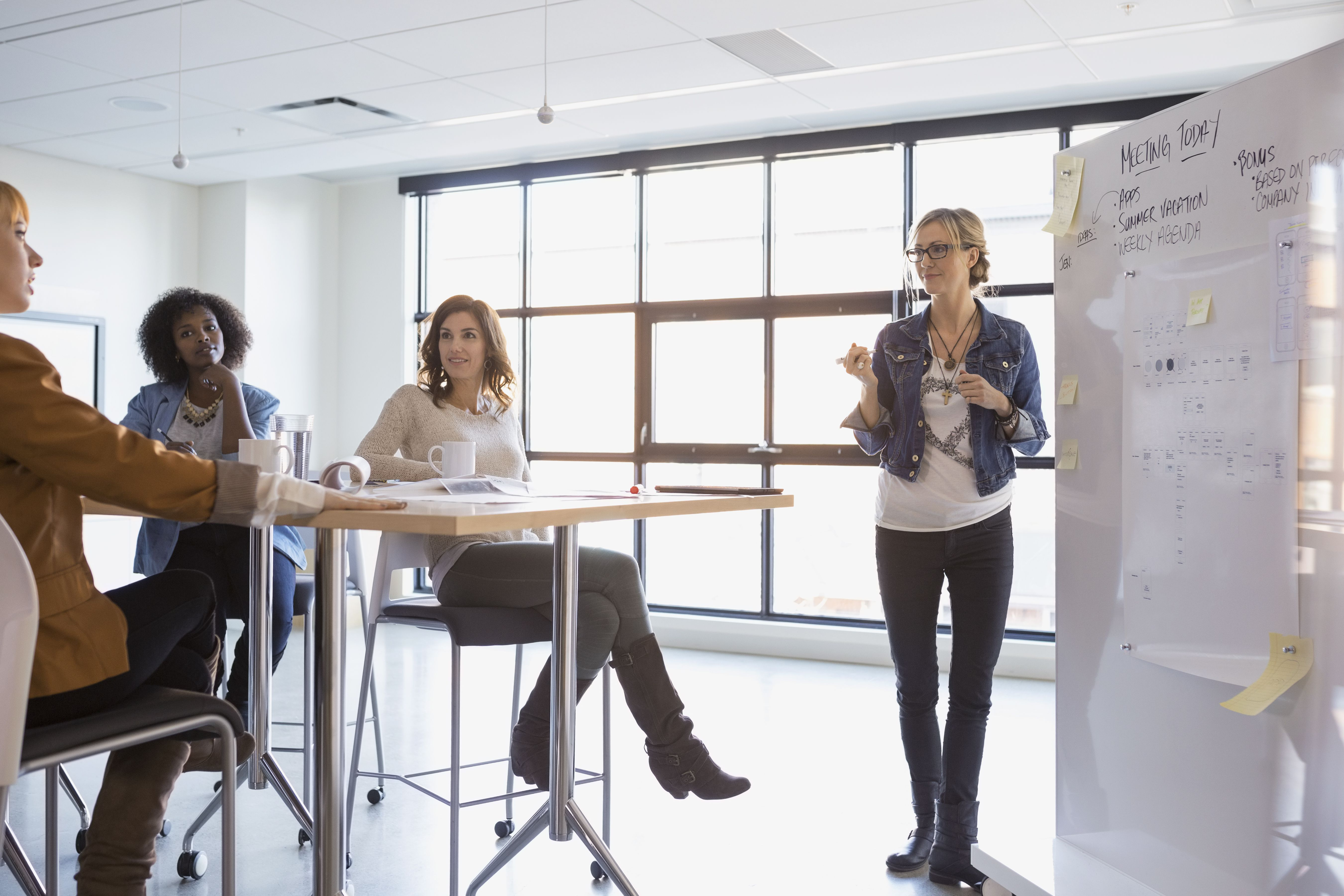 Businesswoman at whiteboard leading meeting in conference room
