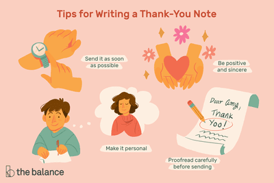 """Title reads: """"Tips for writing a thank-you note."""" There are four icons with captions. The icons are a hand tapping on a watch, two hands holding a heart, a man writing a letter thinking about a girl, and a piece of paper that says """"thank yoo."""" Captions below read: """"send it as soon as possible; be positive and sincere; make it personal; proofread carefully before sending"""""""