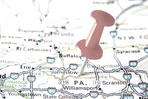 Pin stuck in Pennsylvania on map