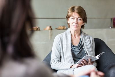 Older woman interviewing for a job