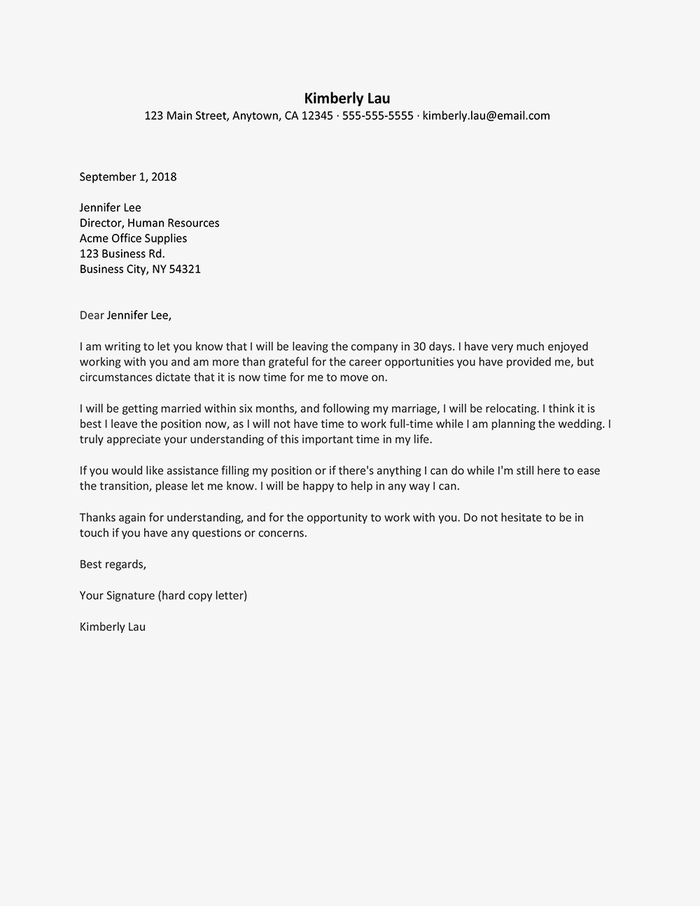 Sample Resignation Letter To Get Married