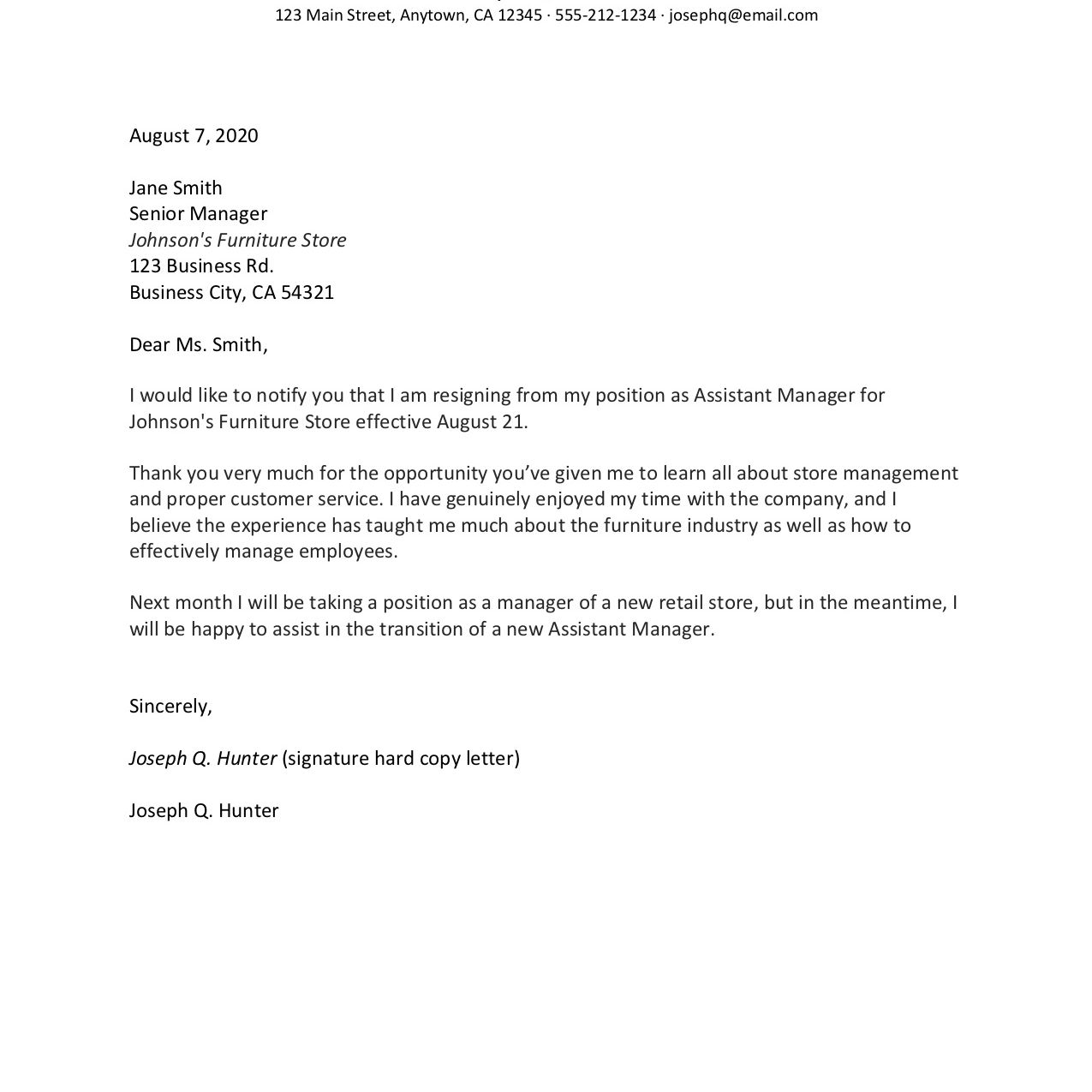 Sample Copy Of Resignation Letter from www.thebalancecareers.com