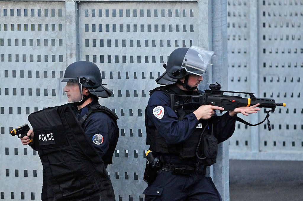 Police officers in a drill