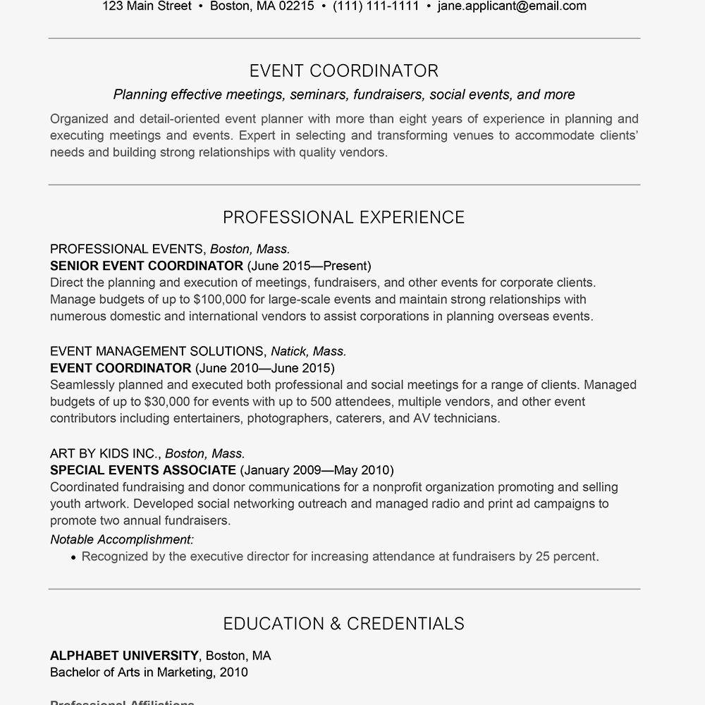event planner resume and cover letter examples