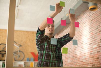 man with post it notes