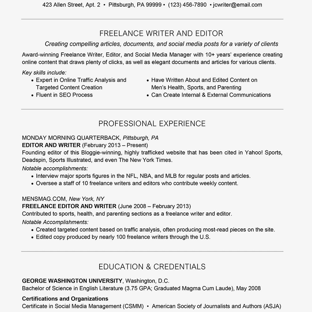 Freelance Resume Cover Letter And Writing Tips