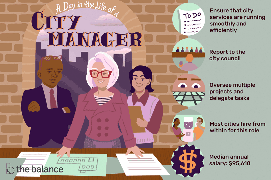 "Image shows a city manager with her team. Text reads: ""A day in the life of a city manager: ensure that city services are running smoothly and efficiently; report to the city council; oversee multiple projects and delegate tasks; most cities hire from within for this role; median annual salary: $95,610"""