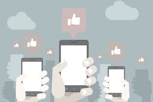 Illustrations of smartphones with social Likes
