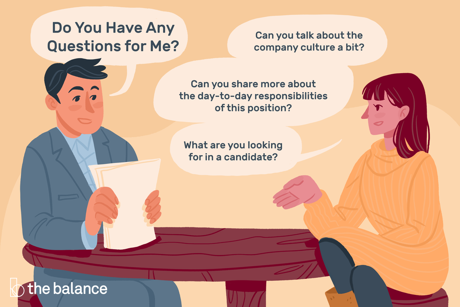"Image shows a man interviewing a woman. His speech bubble reads: ""Do you have any questions for me?"" The woman's speech bubbles read: ""Can you talk about the company culture a bit? Can you share more about the day-to-day responsibilities of this position? What are you looking for in a candidate?"""