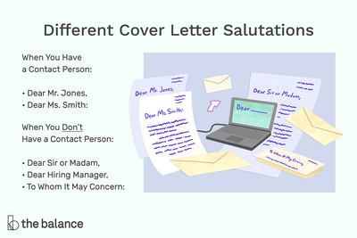This illustration shows different cover letter salutations including