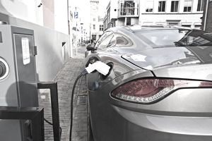 Electric car at recharging station