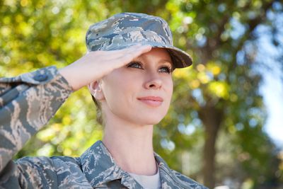 American airwoman outdoors