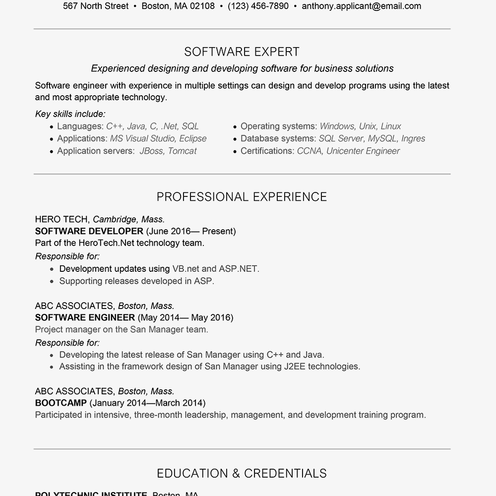 software examples for resumes