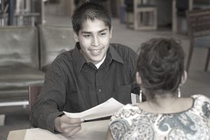 Native American teenage boy at a job interview