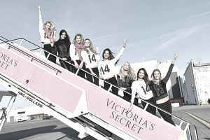 Victoria's Secret models boarding a plane