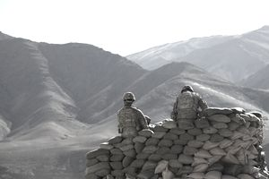 January 9, 2011 - U.S. Army soldiers run communications equipment from a sandbag bunker in the Daymirdad District Center, Wardak province, Afghanistan