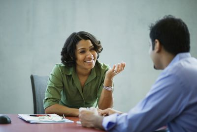 Woman and man in job interview