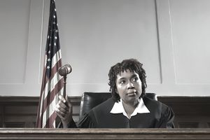 Portrait of a judge with gavel