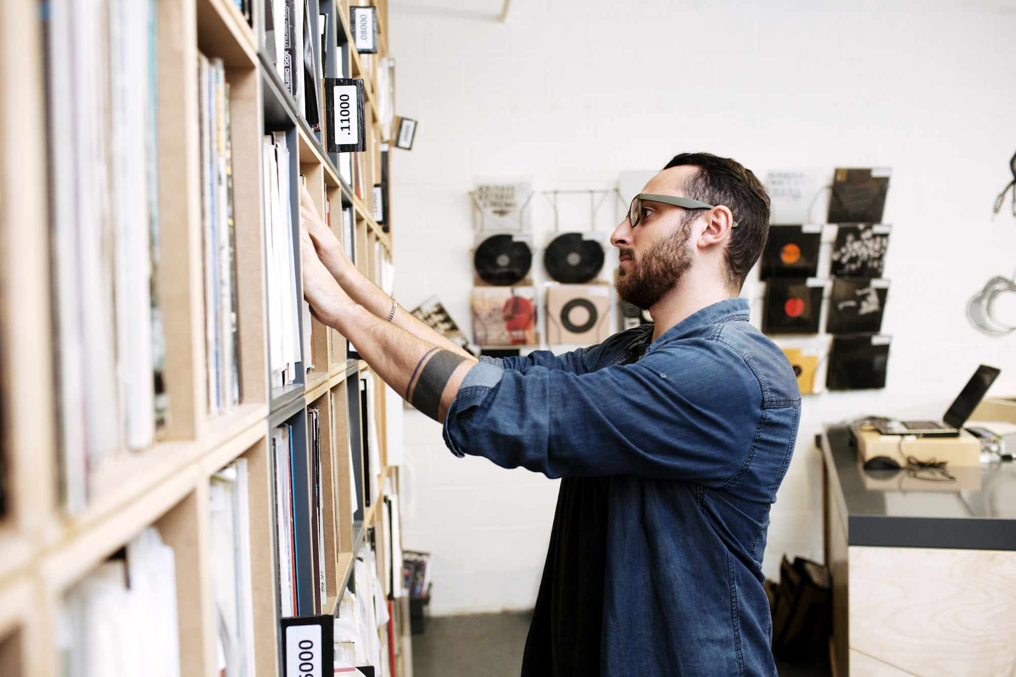 a man browsing in a record store