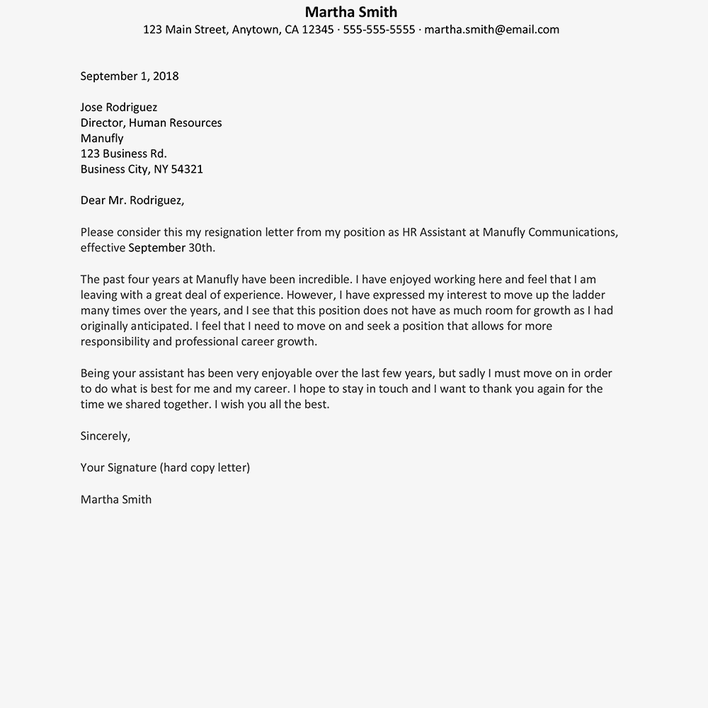 screenshot of a resignation letter example for career growth