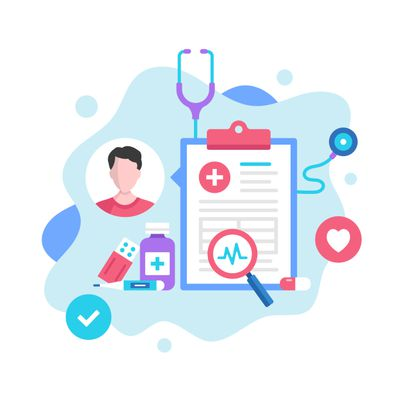 Health insurance medical records concept