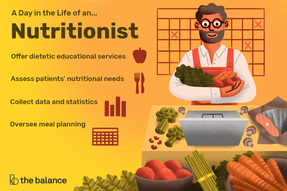 A day in the life of a nutritionist: Offer dietetic educational services, assess patients' nutritional needs, collect data and statistics, oversee meal planning